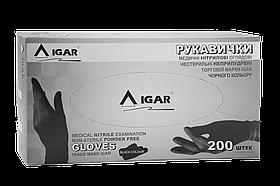 Перчатки нитриловые IGAR черного цвета без пудры 200шт S