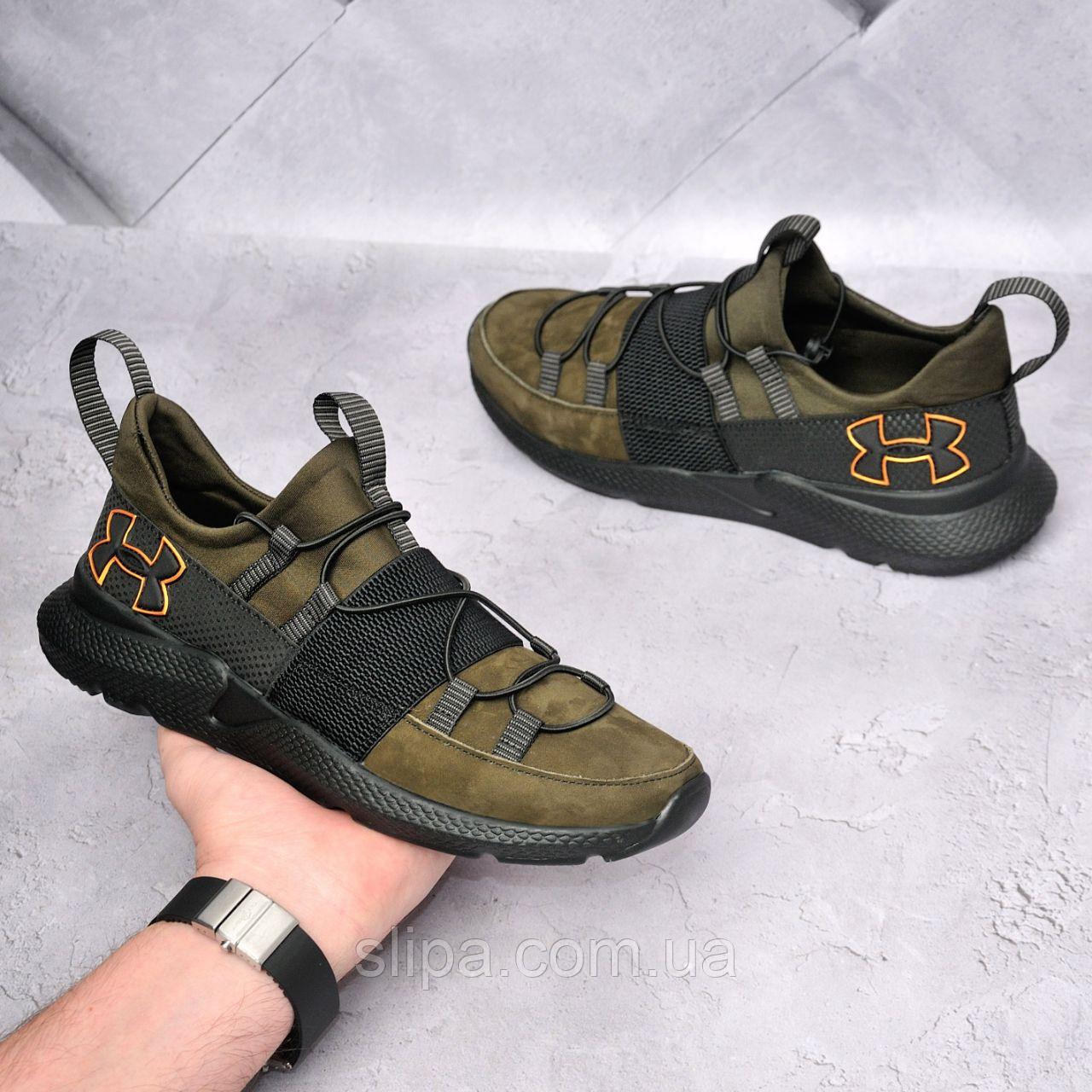 Шкіряні кросівки Under Armour кольору хакі на чорній підошві   нубук + термополиуретан