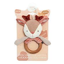 Игрушка погремушка Elfik с деревянным грызунком Косуля Руби розовая ІГ-0112, КОД: 2425299