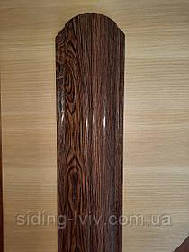 Євроштахети темний дуб 105 мм одно сторонній 3D (штахети металеві темне дерево)
