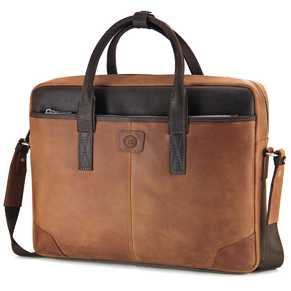Сумка шкіряна для ноутбука 15,6 ', MackBook 16' Tom Stone 717 R-Br світло-коричнева