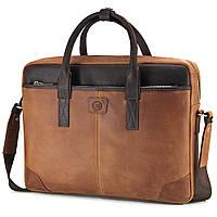 Сумка кожаная для ноутбука 15,6', MackBook 16' Tom Stone 717 R-Br светло-коричневая