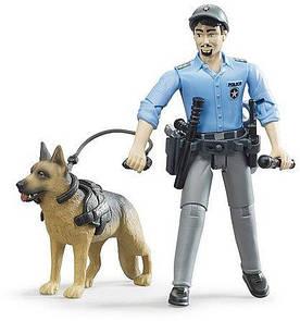 Игрушка Bruder фигурка полицейский с собакой (62150)