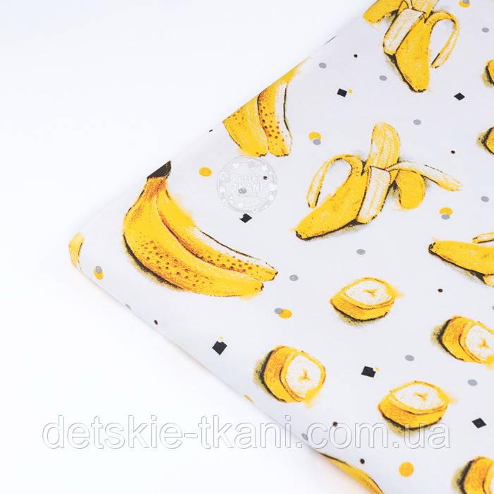 """Клапоть тканини з принтом """"Банани"""" на білому (№3388), розмір 26*120 см"""