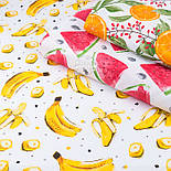 """Клапоть тканини з принтом """"Банани"""" на білому (№3388), розмір 26*120 см, фото 6"""