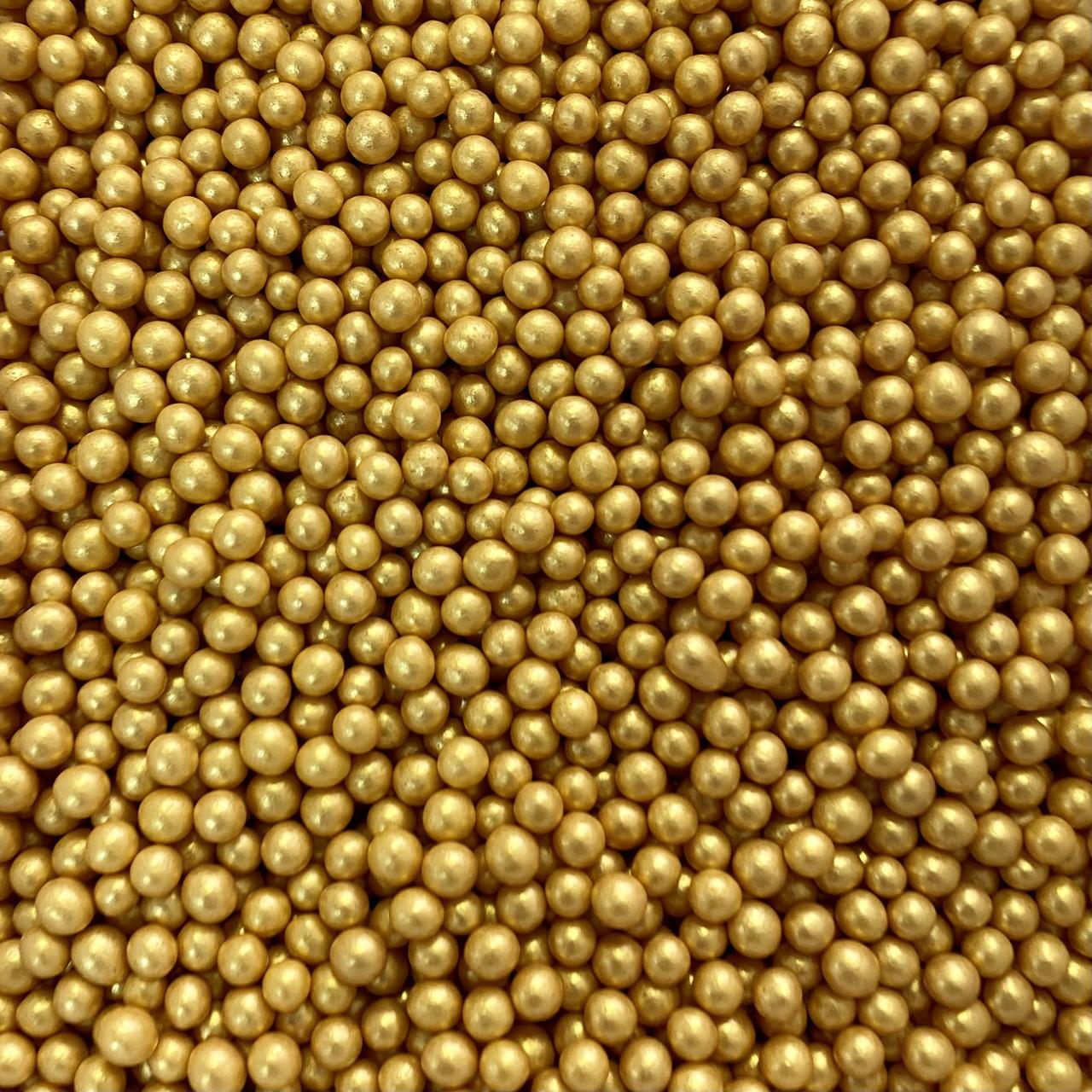 Цукрові кульки золоті 5мм м'які (100г)