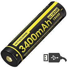 Літієвий акумулятор Li-Ion 18650 Nitecore NL1834R (3400mAh, USB), захищений