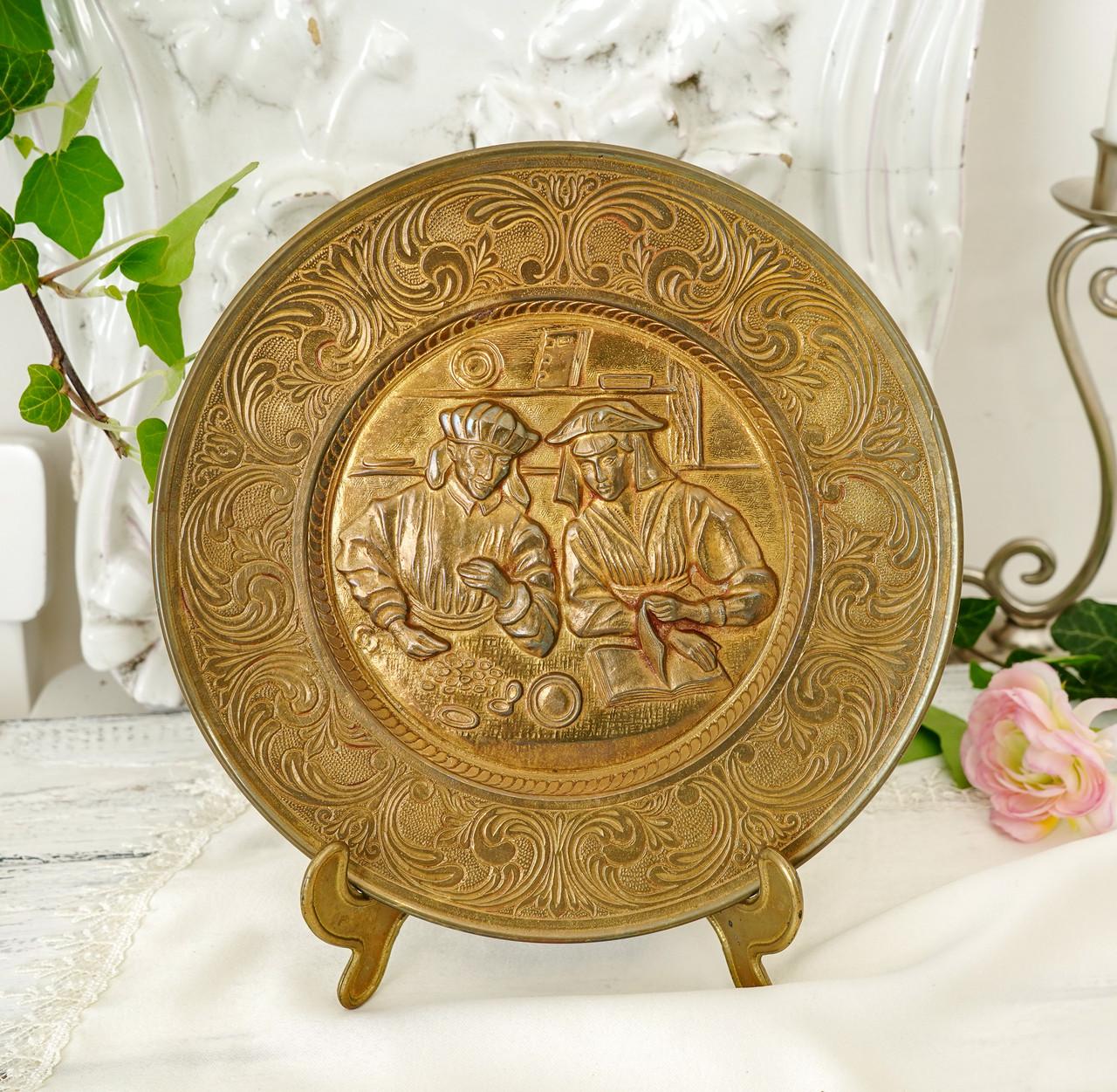 Старая настенная бронзовая тарелка, барельеф, декор, бронза, литье, Германия, на подарок