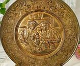 Старая настенная бронзовая тарелка, барельеф, декор, бронза, литье, Германия, на подарок, фото 2