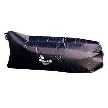 Шезлонг надувной Gamachok (240х75см), нейлон рип-стоп, черный