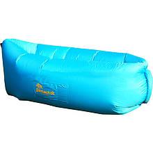 Шезлонг надувной Gamachok (240х75см), нейлон рип-стоп, голубой
