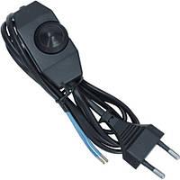 Шнур сетевой для бра с выключателем-регулятором, 2х0.75мм CU медь, 1.5м, чёрный