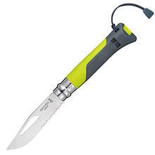 Нож складной Opinel №8 Outdoor полусеррейтор (длина: 190мм, лезвие: 85мм), зеленый