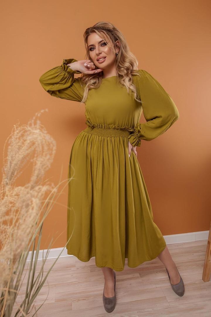 """Приталенное штапельное платье-миди """"CORDOBA"""" с длинным рукавом"""