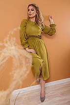 """Приталенное штапельное платье-миди """"CORDOBA"""" с длинным рукавом, фото 2"""