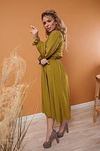 """Приталенное штапельное платье-миди """"CORDOBA"""" с длинным рукавом, фото 3"""