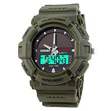 Часы электронные, тактические Skmei 1050, армейский зеленый, с солнечной панелью, в металлическом боксе