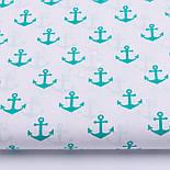 Клапоть тканини з зелено-блакитними якорями (№275а), розмір 51*96 см, фото 2