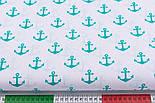 Лоскут ткани с зелёно-бирюзовыми якорями (№275а), размер 51*96 см, фото 3