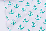 Лоскут ткани с зелёно-бирюзовыми якорями (№275а), размер 51*96 см, фото 5