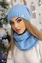 Комплект «Шарлін» (шапка і шарф-хомут) (білий) блакитний