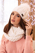 Комплект «Сара» (шапка і шарф-снуд) (білий)