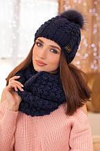 Комплект «Сара» (шапка і шарф-снуд) (білий) джинсовий