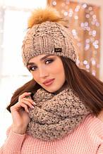 Комплект «Сара» (шапка і шарф-снуд) (білий) темний кави