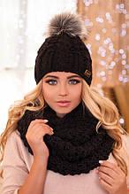Комплект «Сара» (шапка і шарф-снуд) (білий) чорний