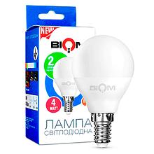 Світлодіодна лампа BIOM BT-545 G45 4W E14 3000K (Куля)