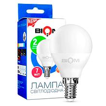 Світлодіодна лампа BIOM BT-565 G45 7W E14 3000K (Куля)