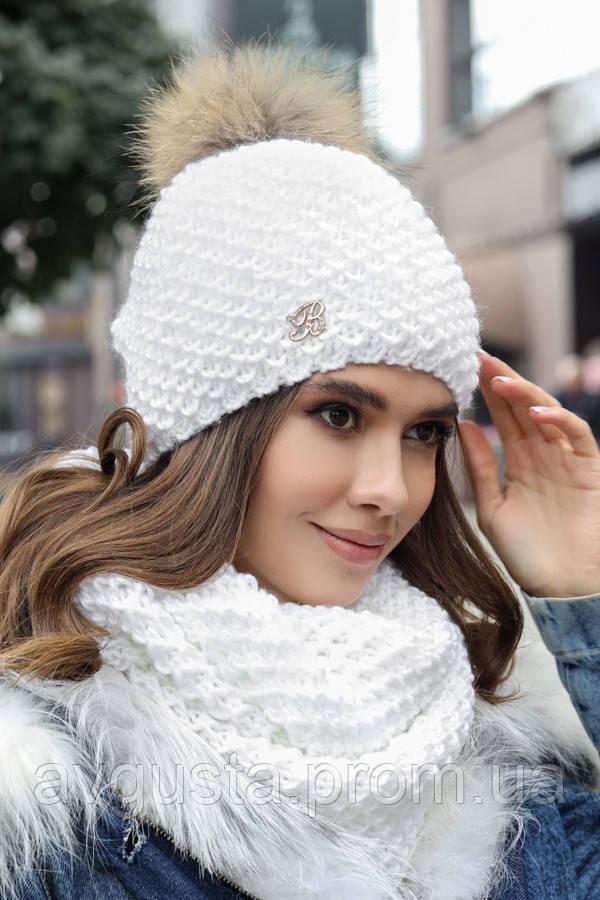 Комплект «Кларк» (шапка и снуд) (белый)