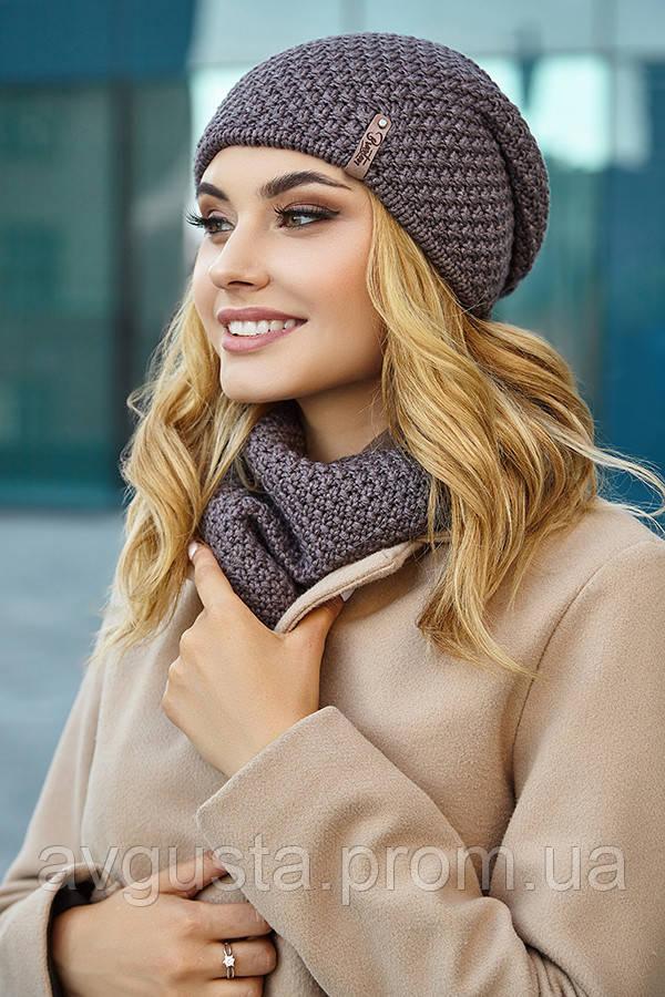 Комплект «Осирия» (шапка-ковпак і шарф-хомут) (темний кави)