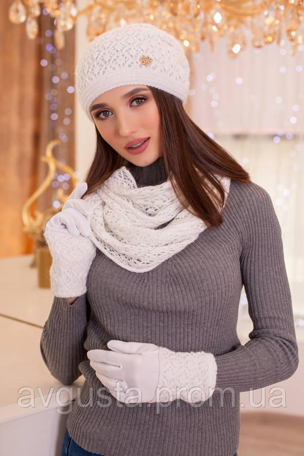 Комплект «Верона»  (шапка, снуд и перчатки) (белый)