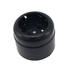 Розетка з заземленням кругла зовнішня DE-PA Чорна