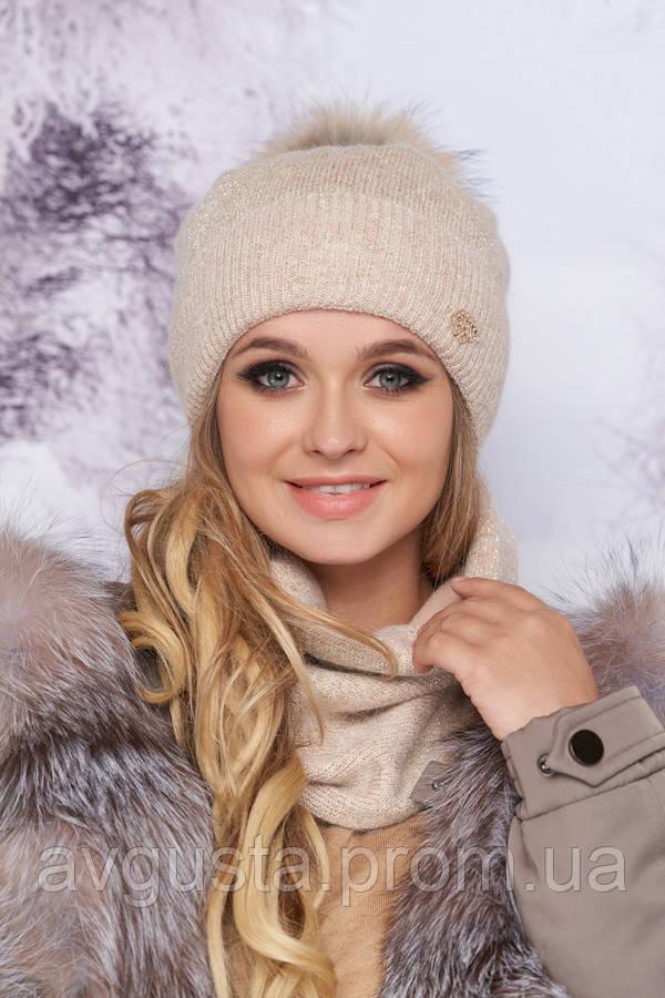 Комплект «Тияна» (шапка и шарф-хомут) (кремовый)