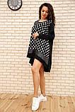 Платье-туника женское ассиметричное в горох батал (черный, р.50-60), фото 3