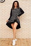 Платье-туника женское ассиметричное в горох батал (черный, р.50-60), фото 2