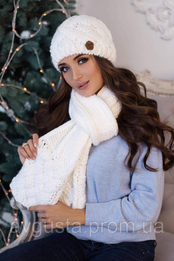Комплект «Дюран» (шапка и шарф) (белый)
