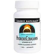 Витамин B12, 1 мг, Гидроксокобаламин, вкус вишни, Hydroxocobalamin, Source Naturals, 60 таблеток