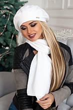 Комплект «Беата» (бере і шарф) (темно-сірий) білий