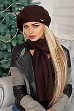 Комплект «Беата» (бере і шарф) (темно-сірий) коричневий