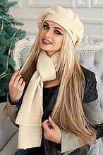 Комплект «Беата» (бере і шарф) (темно-сірий) пісочний