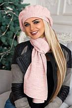 Комплект «Беата» (бере і шарф) (темно-сірий) пудра