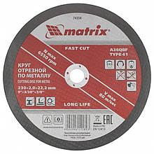 Круг відрізний по металу 230х2.0х22.2мм Matrix абразивний армований