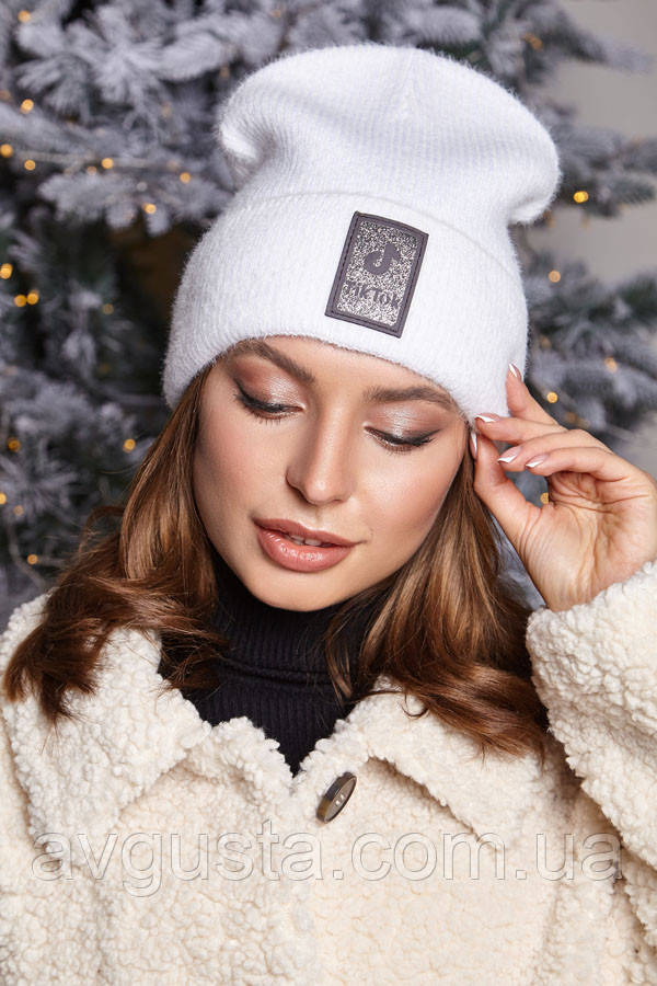 Пухнаста молодіжна шапка-ковпак з флісовою смужкою (4949-1) (білий)
