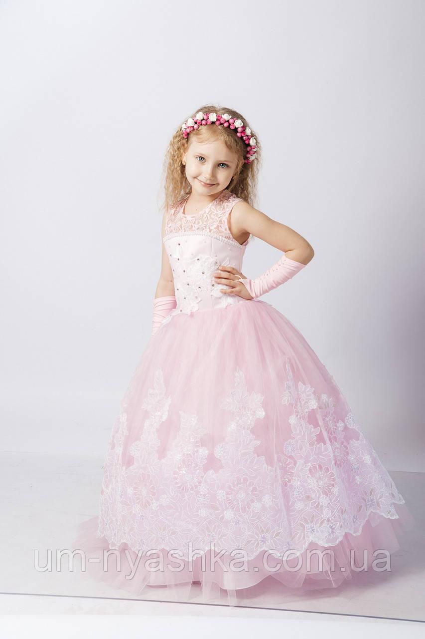 Длинное нарядное платье Кружево на 5-7 лет