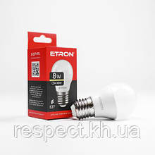 Лампа світлодіодна ETRON Power Light 1-ELP-041 G45 8W 3000K 220V E27