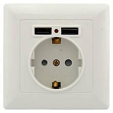 Розетка Светоприбор 1-я внутренняя+ 2 USB SV-8230
