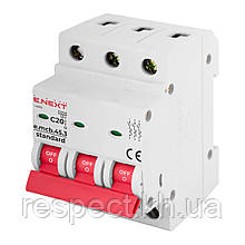 Модульний автоматичний вимикач E-NEXT e.mcb.stand.45.3.C20, 3р, 20А, С, 4,5 кА